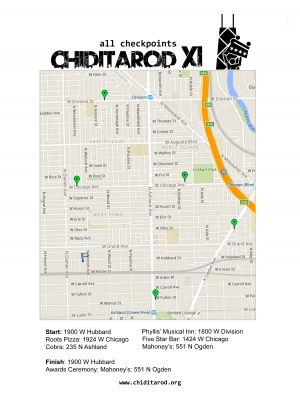 Chiditarod 2016 Route Map - All Checkpoints