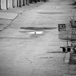 abandoned shopping cart bw